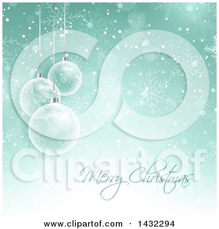 Clipart of a Merry Christmas Greeting with 3d Transparent Glass Baubles and Snow on Green - Royalty Free Vector Illustration by KJ Pargeter