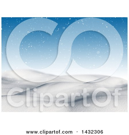Clipart of a 3d Hilly Winter Landscape with Snow and a Blue Sky - Royalty Free Illustration by KJ Pargeter