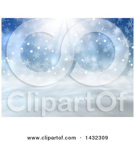 Clipart of a 3d Hilly Winter Landscape with Snowflakes and Sunshine - Royalty Free Illustration by KJ Pargeter