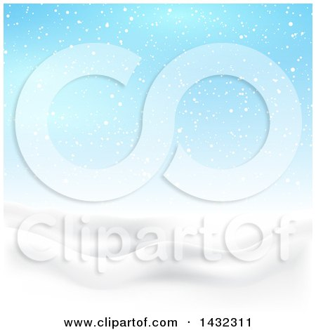 Clipart of a 3d Hilly Winter Landscape with Snow Falling and Blue Sky - Royalty Free Vector Illustration by KJ Pargeter