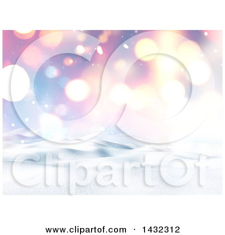Clipart of a 3d Hilly Winter Landscape with Flares and a Colorful Sky - Royalty Free Illustration by KJ Pargeter