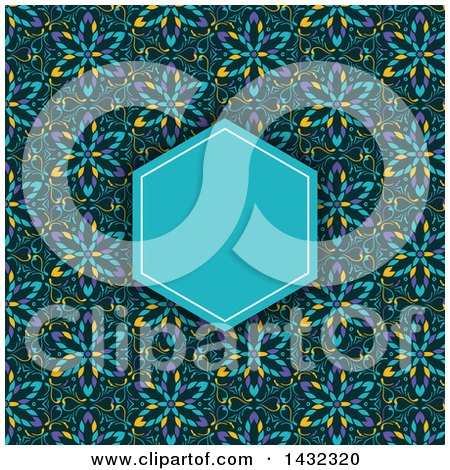 Clipart of a Kaleidoscope Floral Patterned Invite Background with a Blue Frame - Royalty Free Vector Illustration by KJ Pargeter