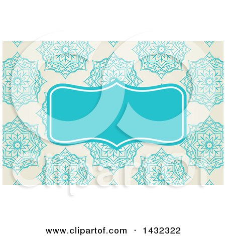 Clipart of a   Business Card or Website Background Design of Elegant Flowers on Beige, with a Blue Frame  Royalty Free Vector Illustration Posters, Art Prints