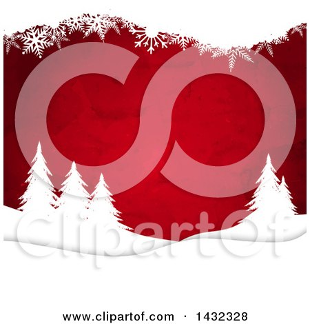 Clipart of a Christmas Background of Red Watercolor and White Silhouetted Snowflakes and Evergreen Trees - Royalty Free Vector Illustration by KJ Pargeter