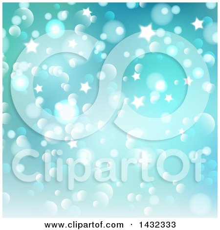 Clipart of a Gradient Green and Blue Star and Bokeh Lights Background - Royalty Free Vector Illustration by KJ Pargeter