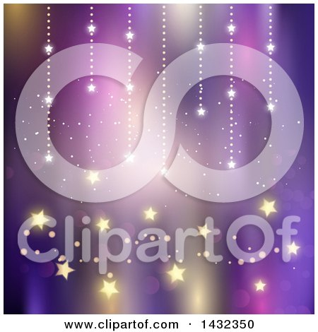 Clipart of a Purple Background with Magical Stars - Royalty Free Vector Illustration by KJ Pargeter