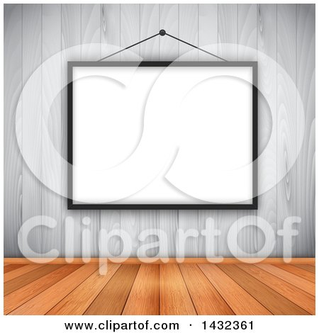 Clipart of a 3d Blank Picture Frame on a White Wood Wall over Warm Wooden Flooring - Royalty Free Vector Illustration by KJ Pargeter