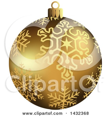 Clipart of a 3d gold snowflake patterned christmas bauble for Small gold christmas ornaments