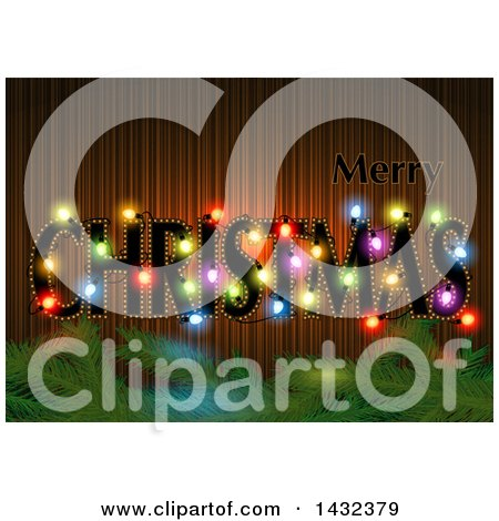 Clipart of a Merry Christmas Greeting with Colorful Lights and Branches - Royalty Free Vector Illustration by dero