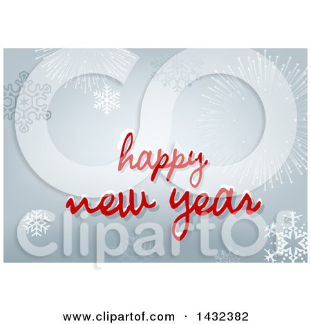 clipart of a happy new year greeting with snowflakes and fireworks royalty free vector illustration by dero