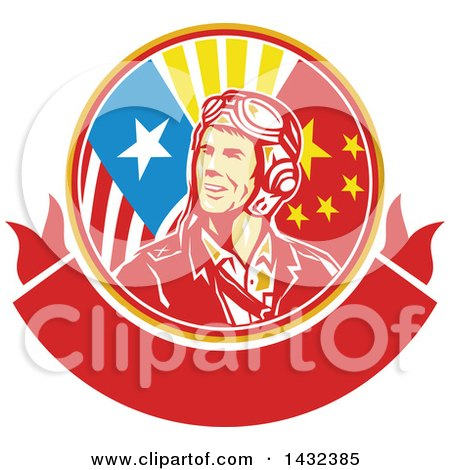 Clipart of a Retro WWII Male Aviator Pilot in an American and Chinese Flag Circle over a Blank Banner - Royalty Free Vector Illustration by patrimonio