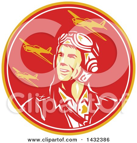 Clipart of a Retro WWII Male Aviator Pilot and Fighter Planes in a Yellow Red and White Circle - Royalty Free Vector Illustration by patrimonio