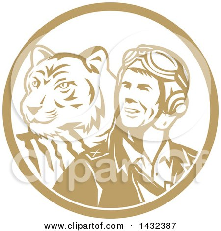 Clipart of a Retro WWII Male Aviator Pilot and Tiger in a Tan and White Circle - Royalty Free Vector Illustration by patrimonio