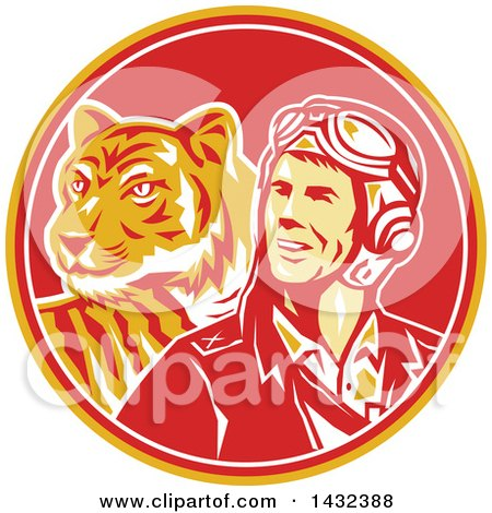 Clipart of a Retro WWII Male Aviator Pilot and Tiger in a Yellow Red and White Circle - Royalty Free Vector Illustration by patrimonio
