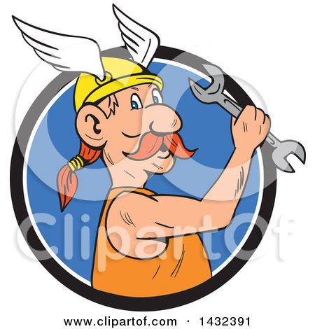 Clipart of a Cartoon Viking Repair Man Holding a Wrench in a Black White and Blue Circle - Royalty Free Vector Illustration by patrimonio