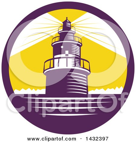 Clipart Of A Retro Woodcut Lighthouse With Lights Shining In A Purple White And Yellow Circle Royalty Free Vector Illustration