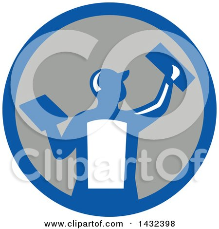 Clipart of a Rear View of a Retro Male Plasterer Worker Using Trowels in a Blue White and Gray Circle - Royalty Free Vector Illustration by patrimonio