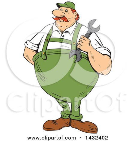 Clipart of a Cartoon Chubby German Repair Man Holding a Spanner Wrench - Royalty Free Vector Illustration by patrimonio