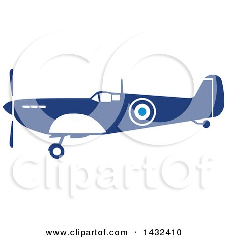Clipart of a Retro Blue and White World War Two Spitfire Fighter Airplane - Royalty Free Vector Illustration by patrimonio