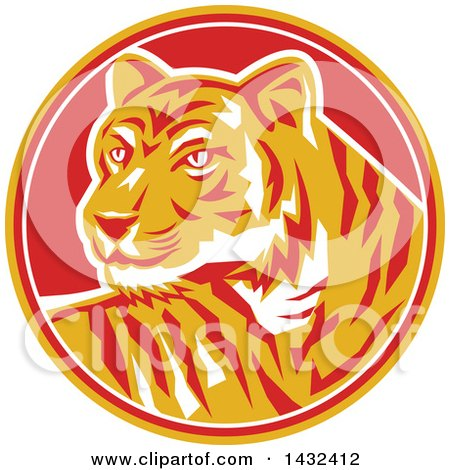 Clipart of a Retro Tiger in a Yellow, Red and White Circle - Royalty Free Vector Illustration by patrimonio