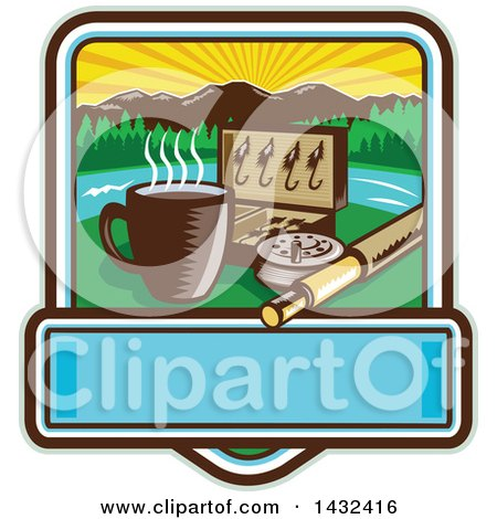 Clipart of a Retro Woodcut Fly Box, Coffee Mug and Fishing Rod in a Sunrise Square with Text Space - Royalty Free Vector Illustration by patrimonio