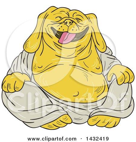 Clipart of a Cartoon Laughing Buddha Bulldog - Royalty Free Vector Illustration by patrimonio