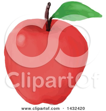 Clipart of a Watercolor Styled Red Apple with a Leaf - Royalty Free Vector Illustration by patrimonio