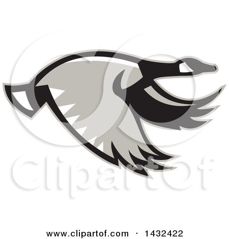 Clipart of a Retro Flying Canadian Goose in Profile - Royalty Free Vector Illustration by patrimonio