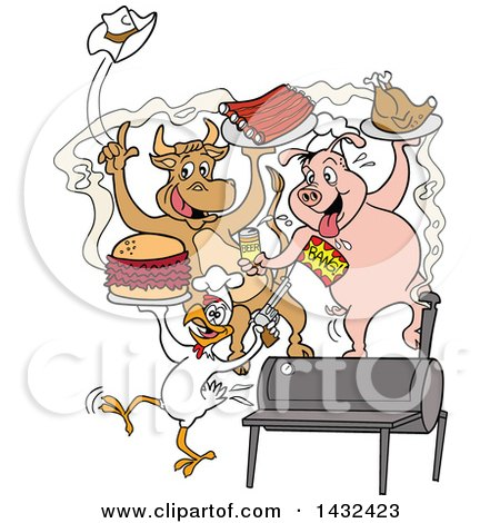 Clipart of a Cow, Pig and Chicken Celebrating, Eating Bbq Ribs, Burgers and Chicken - Royalty Free Vector Illustration by LaffToon