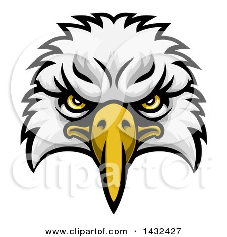 Clipart of a Cartoon Bald Eagle Mascot Face - Royalty Free Vector Illustration by AtStockIllustration