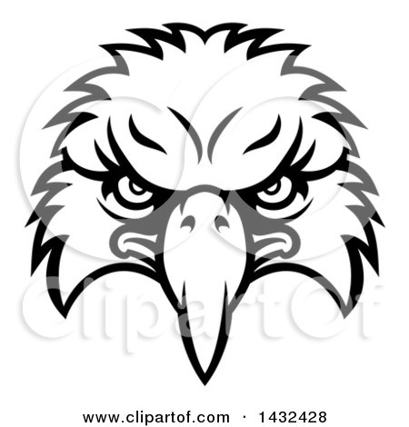 Clipart Of A Cartoon Black And White Bald Eagle Mascot Face