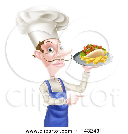 Clipart of a White Male Chef with a Curling Mustache, Holding a Souvlaki Kebab Sandwich and French Fries on a Tray and Pointing - Royalty Free Vector Illustration by AtStockIllustration