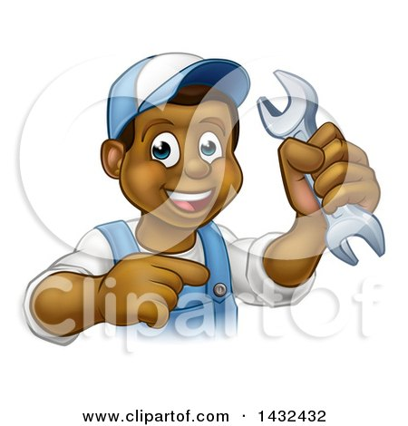 Cartoon Happy Black Male Mechanic Holding up a Wrench and Pointing Posters, Art Prints