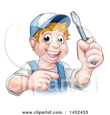 Clipart of a Cartoon Happy White Male Electrician Holding up a Screwdriver and Pointing - Royalty Free Vector Illustration by AtStockIllustration