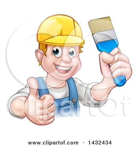 Clipart of a Cartoon Happy White Male Painter Holding up a Brush and Giving a Thumb up - Royalty Free Vector Illustration by AtStockIllustration