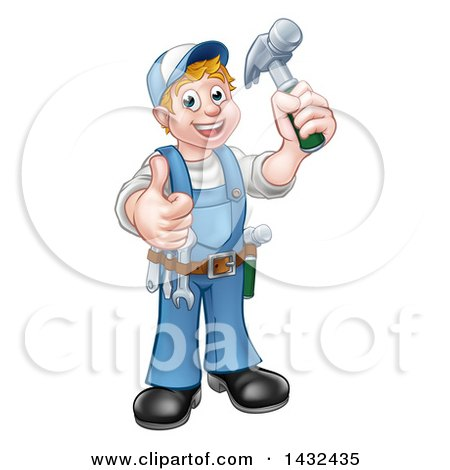 Clipart of a Cartoon Full Length Happy White Male Carpenter Holding a Hammer and Giving a Thumb up - Royalty Free Vector Illustration by AtStockIllustration