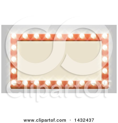 Clipart of a Rectangular Retro Marquee Theater Sign with Light Bulbs on Gray - Royalty Free Vector Illustration by AtStockIllustration