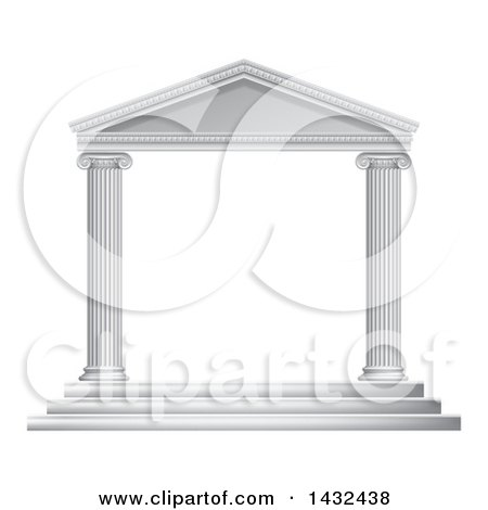 Clipart of a 3d White Ancient Roman or Greek Temple with Pillars Frame - Royalty Free Vector Illustration by AtStockIllustration
