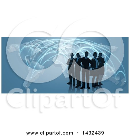 Clipart of a Silhouetted Business Team Standing over a Map with Glowing Paths on Blue - Royalty Free Vector Illustration by AtStockIllustration