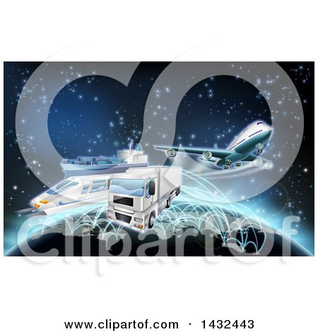 Clipart Of A 3d World Map And Globe With Cargo Logistics Trains Planes Big Rig Trucks And Ships With Illuminated Paths Over Stars Royalty Free Vector Illustration