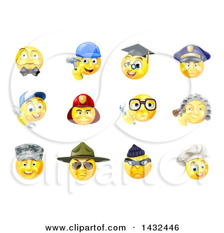 Clipart of Occupational Yellow Smiley Face Emoji Emoticons - Royalty Free Vector Illustration by AtStockIllustration