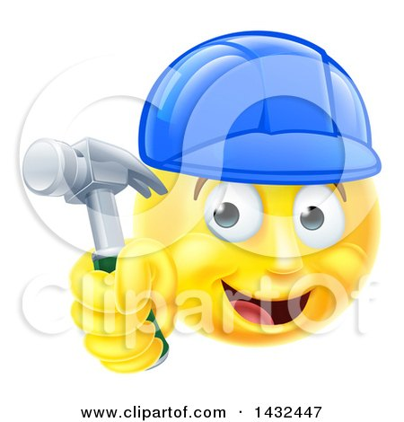 Clipart of a Cartoon Happy Yellow Emoji Smiley Face Emoticon Carpenter Holding a Hammer - Royalty Free Vector Illustration by AtStockIllustration