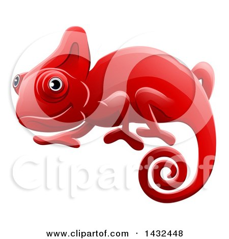 Clipart of a Happy Red Chameleon Lizard - Royalty Free Vector Illustration by AtStockIllustration