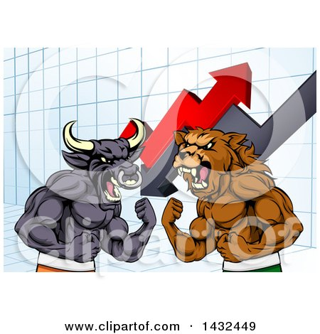 Clipart of a Muscular Brown Bear Man and Angry Bull Ready to Fight over a Graph with Arrows - Royalty Free Vector Illustration by AtStockIllustration