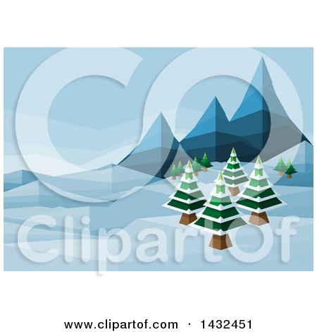 Clipart of a Geometric Polygon Styled Winter Landscape with Mountains and Evergreen Trees - Royalty Free Vector Illustration by AtStockIllustration