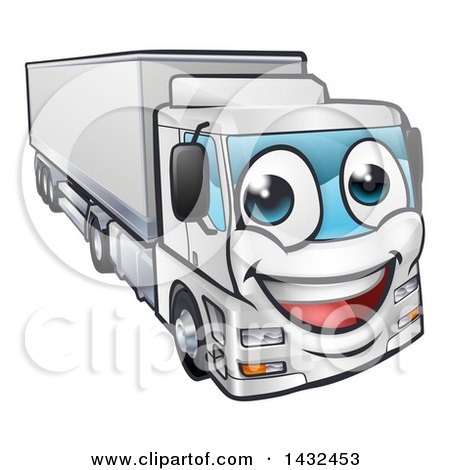 Clipart of a Cartoon Happy Big Rig Lorry Truck Mascot - Royalty Free Vector Illustration by AtStockIllustration