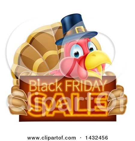 Clipart of a Thanksgiving Turkey Bird Wearing a Pilgrim Hat and Holding a Black Friday Sale Sign - Royalty Free Vector Illustration by AtStockIllustration