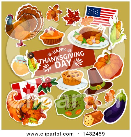 Clipart of a Festive Thanksgiving Design with White Outlined Items on Green - Royalty Free Vector Illustration by Vector Tradition SM