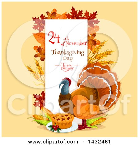 Clipart of a Festive Thanksgiving Design with a Turkey Bird - Royalty Free Vector Illustration by Vector Tradition SM