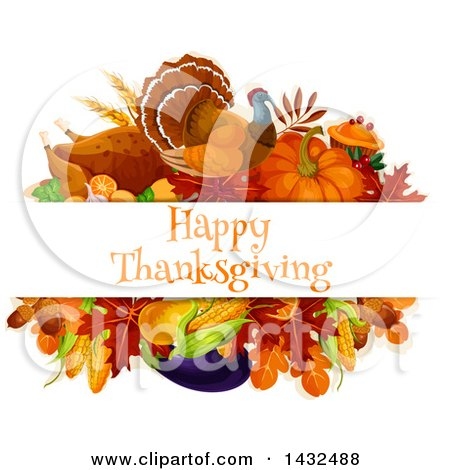 Clipart of a Turkey Bird and Produce Design with Happy Thanksgiving Text - Royalty Free Vector Illustration by Vector Tradition SM